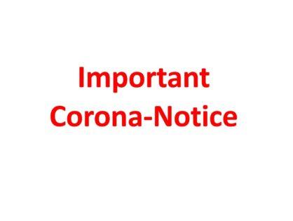 März 2020 - Important Corona-Notice